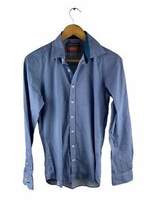 Geoffrey Beene Button Up Shirt Mens Size S Blue White Dot Long Sleeve Slim Fit