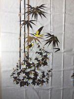 Vintage Hawaiian Alfred Shaheen Fabric Piece Panel Bamboo Bird Daisy Flower Yard