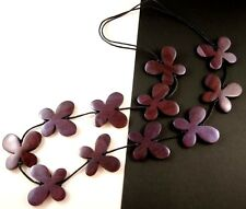 1 Hand Carved & Painted Purple Wood Butterflys Dangle Necklace - # B29