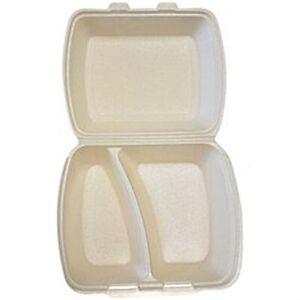 200 Menüboxen 2-geteilt Extrudiertes Polystyrol (XPS)7,5 cm x 24,3 cm x 19,8 cm