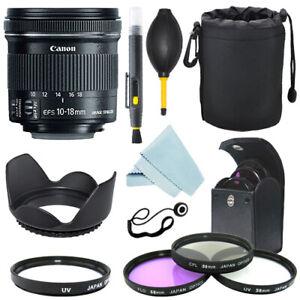 Canon EF-S 10-18mm f/4.5-5.6 IS STM Lens + Lens hood + Filter Kit+ Accessory Kit