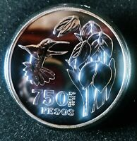 COLOMBIA 750 Pesos 1978   SILVER . SCARCE COIN. Mintage 2656 units !