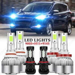 For Ford Escape 2013 2014-2016 - 6PC 8000K LED Headlight + Fog Light Bulbs Kit