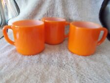 "3 Vintage Fire King Coffee Cups Mugs Pumpkin Orange Milk Glass 3"" D Handles"
