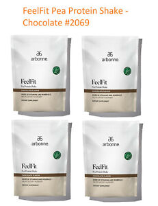 4 bags Arbonne FeelFit Pea Protein Shake - Chocolate #2069 . EX 9/2022 or Later