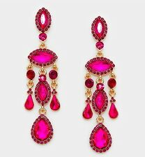 "3.5"" Long Pink Fuchsia Dangle Pageant Wedding Rhinestone Crystal Gold Earrings"