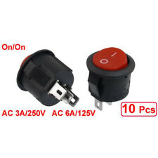 10 pcs SPDT Black Red Button On/On Round Rocker Switch AC 6A/125V 3A/250V P5V3