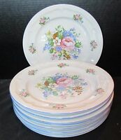 """Victoria Tabletops Unlimited 8 Dinner Plates Floral Design 10 1/2"""" Across"""