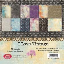 "I Love Vintage Paper Pad 190gsm 36 Sheets 6 x 6"" Single Side 12 Designs x 3 Each"