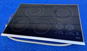 "Wolf CT30EB 30"" Smooth Electric Cooktop with 4 Heating Elements—Great Condition"