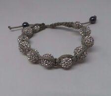Lucet Mundi Ladies Light Silver Crystal and Hematite Shamballa Bracelet