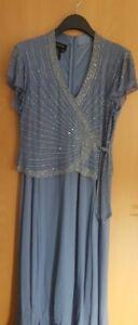 Damen Maxikleid für festlichen Anlass , Brautmutter blau grau, Gr.42