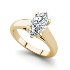 Solitaire 1.25 Carat VS2/F Marquise Cut Diamond Engagement Ring Yellow Gold