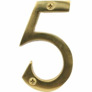 """Securit Large Solid Brass Door Numbers 3""""/75 mm Polished House Flat Apartment"""