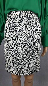 Papaya Weekend 100% Cotton Monochrome Leopard Print Shift Skirt - UK 18 / EU 46