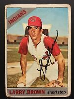 Larry Brown Indians Signed 1966 Topps Baseball Card #16 Auto Autograph