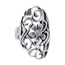 Big Oval SeeThru Flower Swirl .925 Silver Ring-6