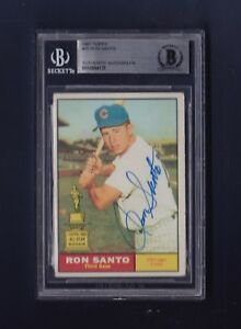 Ron Santo signed Chicago Cubs 1961 Topps Rookie BB Card Beckett Authenticated
