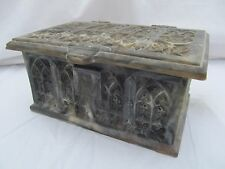 Vintage Incolay Stone - Jewelry Men's Desk Valet Trinket Box Cathedral window