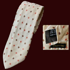 Valentino 100% Silk Tie Grenadine Ivory White Cream Maroon Red Medallion Italy