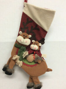 20 inch Woodland Rustic 3D Reindeer Plush Dangle Red Green Christmas Stocking