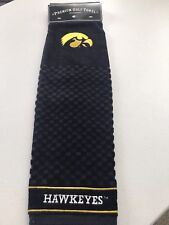 """Iowa Hawkeyes Golf Bag Black Embroidered Towel  - Tri-Fold 16"""" x 25"""" Team Golf"""