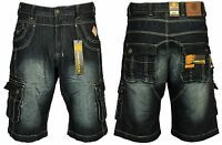 MENS BRAND NEW CARGO DENIM SHORTS IN MID BLUE COLOUR BIG ALL SIZES 30 TO 60