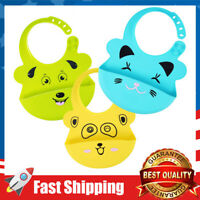 3 Pack Food Grade Silicone Baby Bibs for Newborns Infant BPA-Free, Soft-Durable