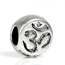 Antique Silver OM Yoga Synbol  Spacer Charm Bead  For European Charm Bracelets