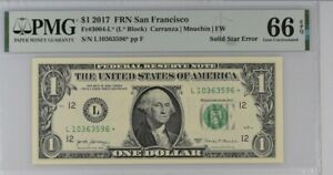 2017 US$1 Federal Reserve Note Solid Star Error PMG 66EPQ