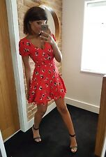 Topshop beautiful red flower pansy print v-neck plunge summer dress! Size 10