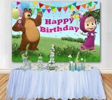Cartoon Masha And Bear Backdrop Girls Birthday Party Background Photo Decor