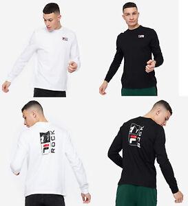 Fila Men Cotton Crew neck Long Sleeves White Rock Graphic Print T shirt Top Tee