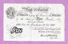 More details for october 1920 harvey bank of england manchester white fiver, £5 five pound note