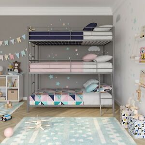 DHP Metal Triple Bunk Bed Twin Over Full Black Or Silver