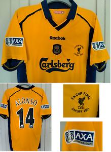 ALONSO LIVERPOOL Away Football Shirt 2000 2001 FA CUP FINAL ORANGE SHIRT LARGE