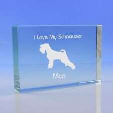 Schnauzer Dog Paperweight Ornament Personalised Engraved Glass Dog Lover Gift