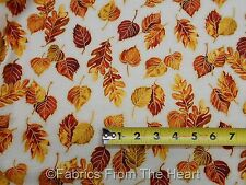 Autumn Fall Gold Metallic Leafs Leaves BY YARDS Timeless Treasure Cotton Fabric