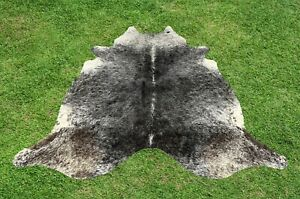Cowhide Rugs Black Real Hair on Cow Hide Skin Leather Area Rug Decor 6 x 6 ft