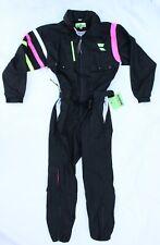 Vintage New Old Stock OBERMEYER Men's Black & Neon One-Piece Ski Suit, Large