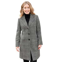Black and White Prince of Wales Check Wool Blend Smart Coat Plus size (fits Big)