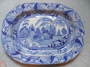 """blue and white platter plate Victorian palms great condition 19"""" or  47cm  wide"""