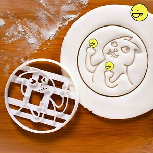 Angry Crazy Cat cookie cutter | Funny Sceptical Pet Middle Finger biscuit