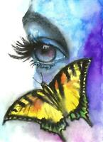 Woman eye butterfly Romantic surreal painting ACEO abstract Original art card