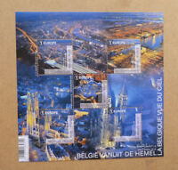 2016 BELGIUM FROM THE SKY 5 STAMP MINI SHEET MINT