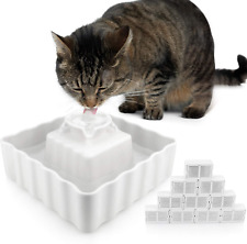 Ceramic Cat Water Fountain Includes 10 Ultra Fine Filters Keeps Cats Safe