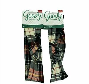 Goody Ouchless Plaid Headwraps Soft Wide Fabric Bow Lot of 2 BOGO Deal