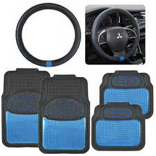 Shiny Blue Metallic Finish Vinyl Floor Mat and Faux Leather Steering Wheel Cover