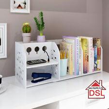 2 Tiers Desktop Cable Tidy Book Case Book Shelf CDs Organizer Stationery Storage
