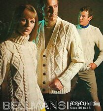 "1782 LADIES MENS ARAN CABLE JUMPERS & CARDIGAN 36-46"" VINTAGE KNITTING PATTERN"